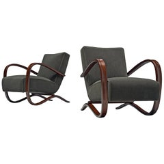 Jindrich Halabala Lounge Chairs Customizable in Mohair Upholstery