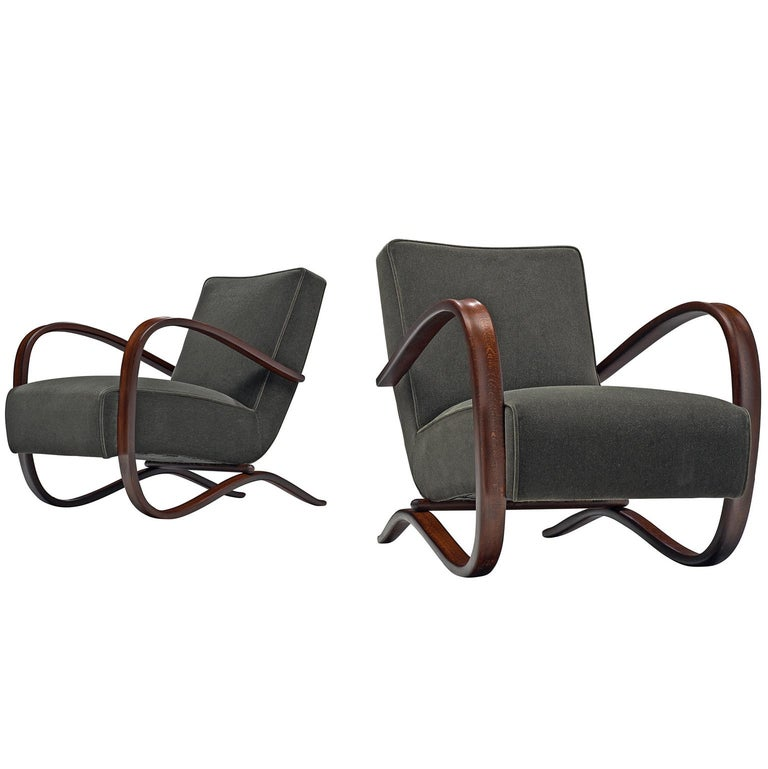 Pair of Jindrich Halabala Lounge Chairs Reupholsteredin Mohair Upholstery For Sale