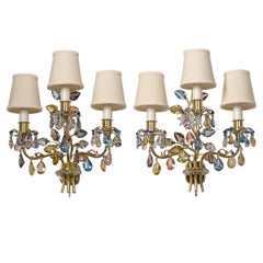 Pair of J&L Lobmeyr Wall Lights, 1950s, Colored Crystal and Brass