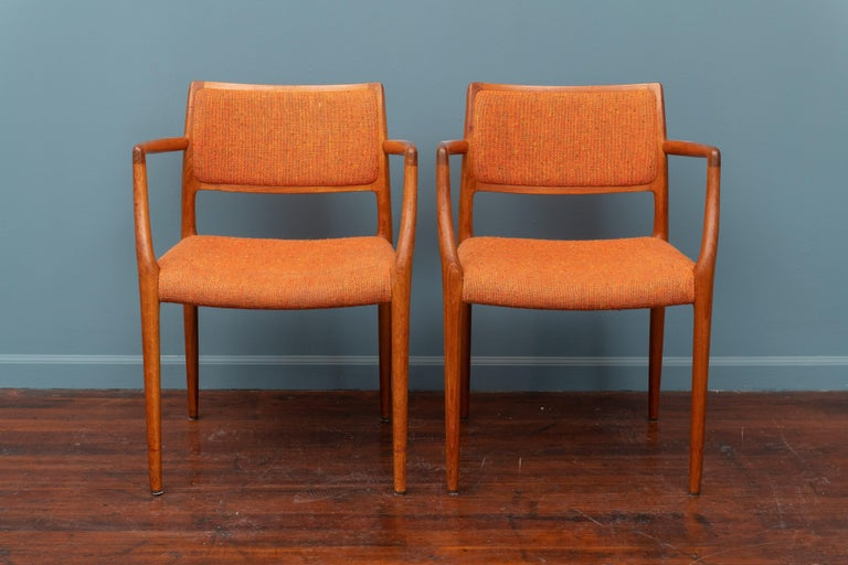 Scandinavian Modern Pair of J.L. Moller Teak Armchairs, Model 80 for Niels Moller For Sale