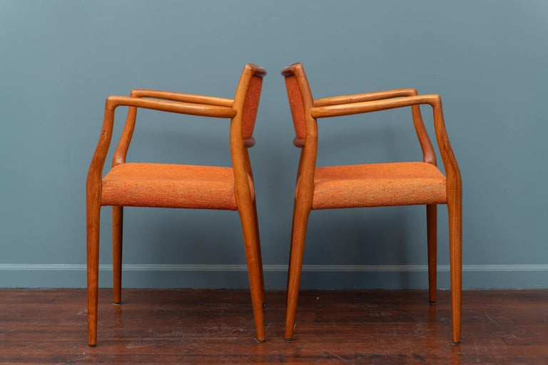 Danish Pair of J.L. Moller Teak Armchairs, Model 80 for Niels Moller For Sale