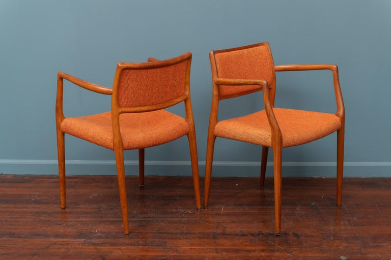 Mid-20th Century Pair of J.L. Moller Teak Armchairs, Model 80 for Niels Moller For Sale