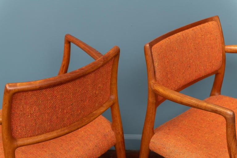Pair of J.L. Moller Teak Armchairs, Model 80 for Niels Moller For Sale 1