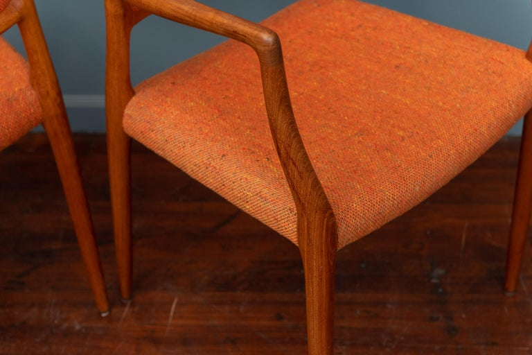 Pair of J.L. Moller Teak Armchairs, Model 80 for Niels Moller For Sale 2
