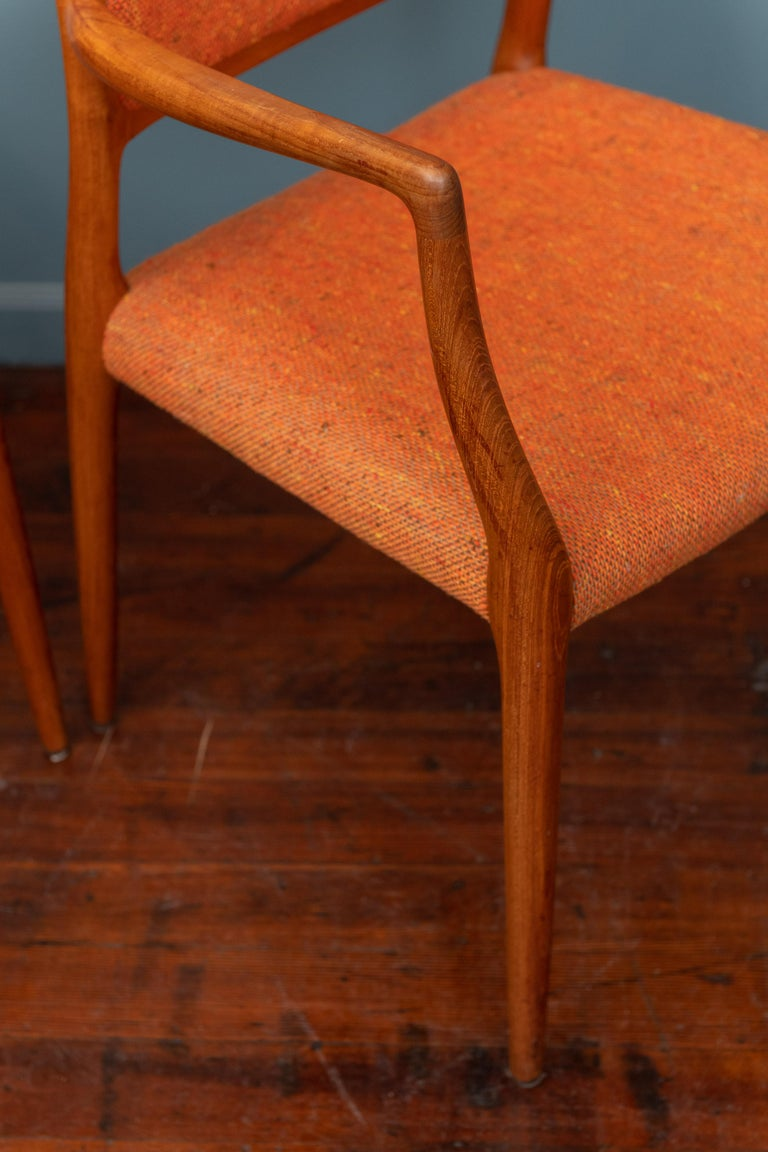 Pair of J.L. Moller Teak Armchairs, Model 80 for Niels Moller For Sale 3