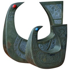 Pair of Joaquin Taller Tinta Ecuador Gemstone Birds Art Craftsman MCM Sculpture