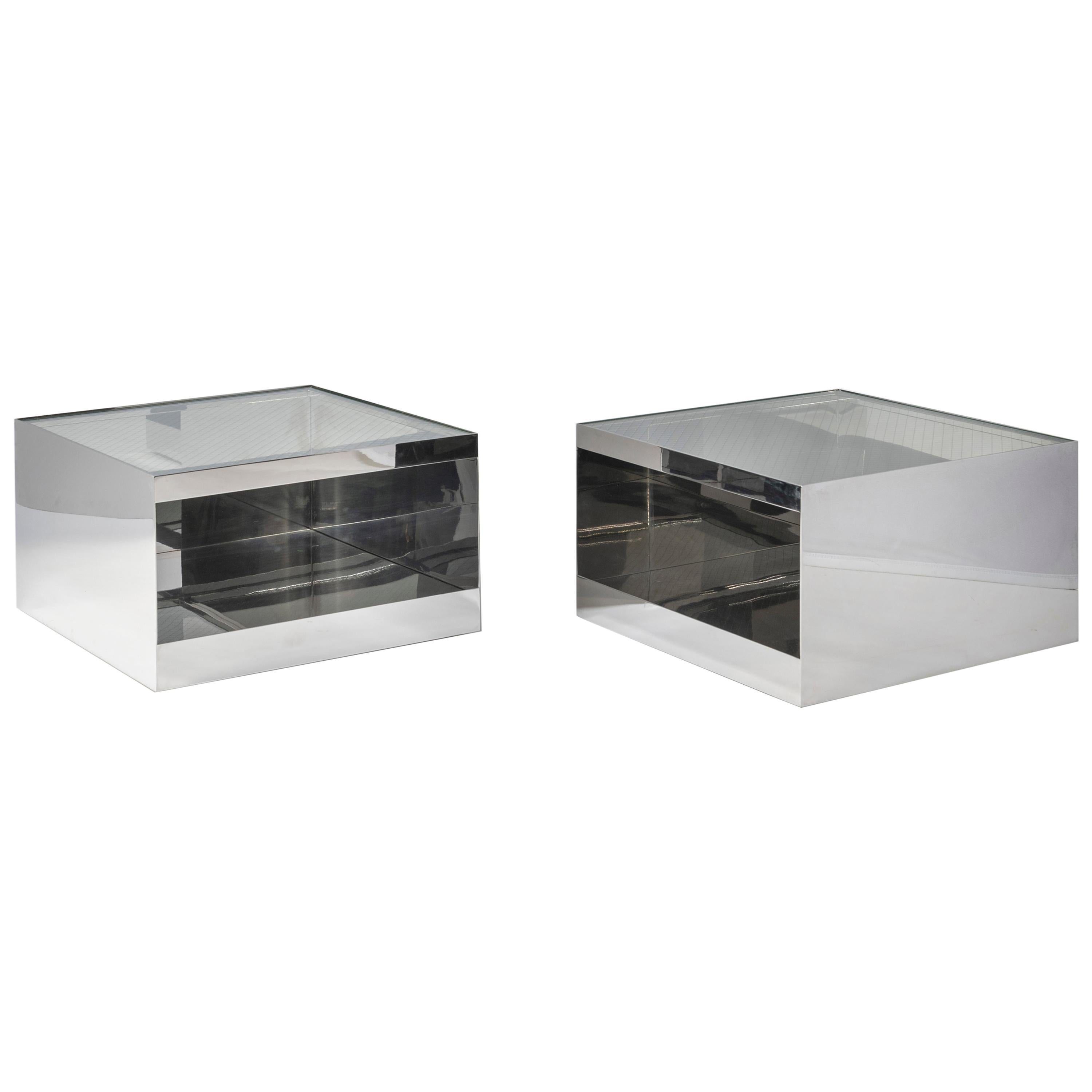 Pair of Joe D'Urso for Knoll Steel Side Tables