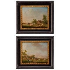 Pair of Johannes Janson 18th Century European Oil on Canvas Paintings