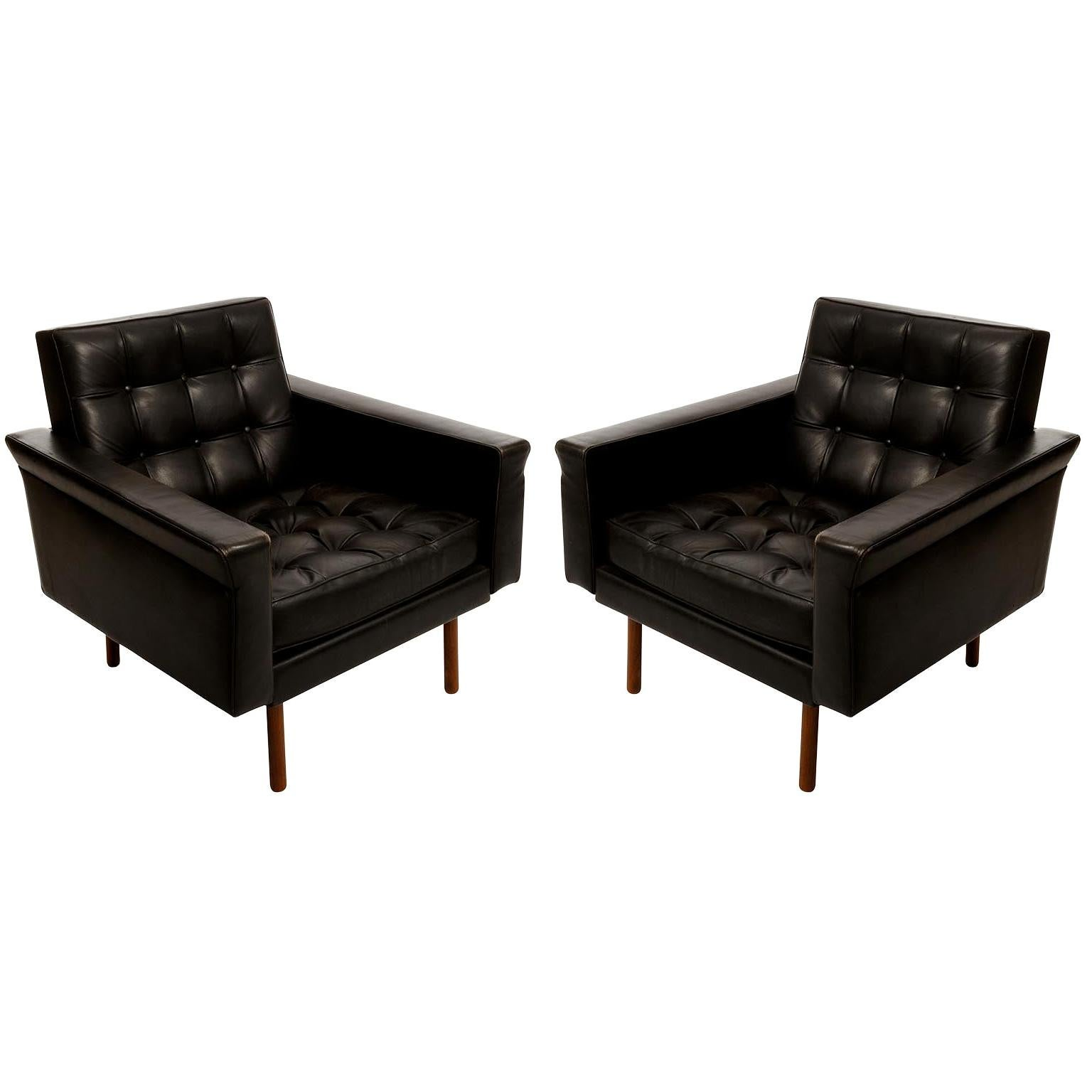 Pair of Johannes Spalt Armchairs Lounge Chairs Wittmann Black Leather Wood 1960s