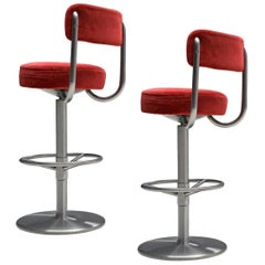 Pair of Johanson Barstools in Red Velvet