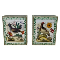 Pair of John Derian Porcelain Vases with Birds Flowers and Script