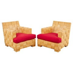 Pair of John Hutton Organic Modern Block Island Club Chairs
