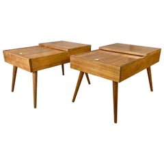 Pair of John Keal for Brown-Saltman Sliding Top Mahogany End Tables, 1950s