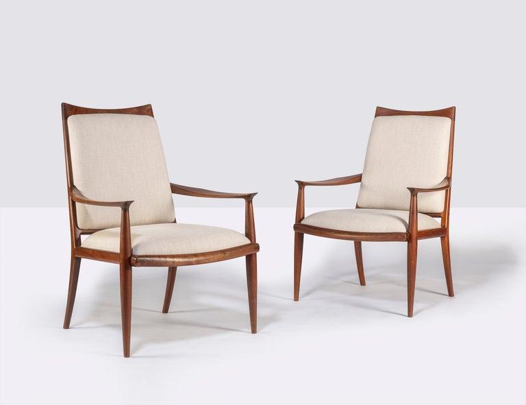 Mid-Century Modern Pair of John Nyquist Walnut Armchairs For Sale
