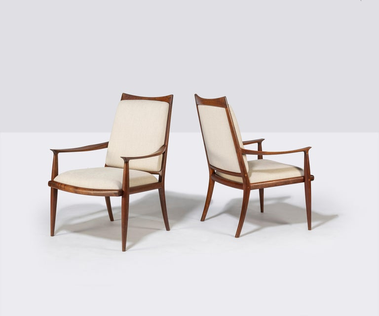 American Pair of John Nyquist Walnut Armchairs For Sale
