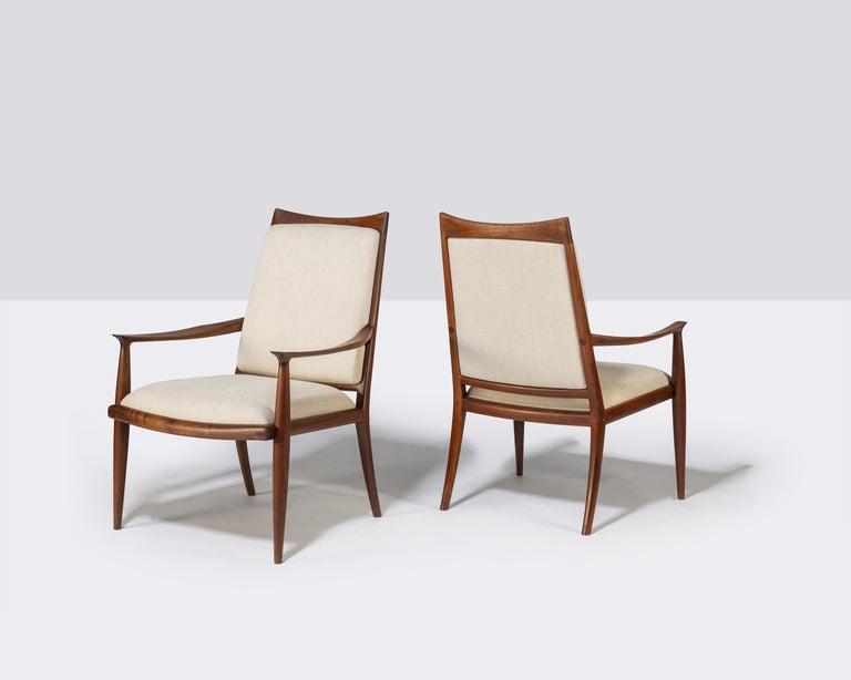 Pair of John Nyquist Walnut Armchairs In Good Condition For Sale In Pawtucket, RI