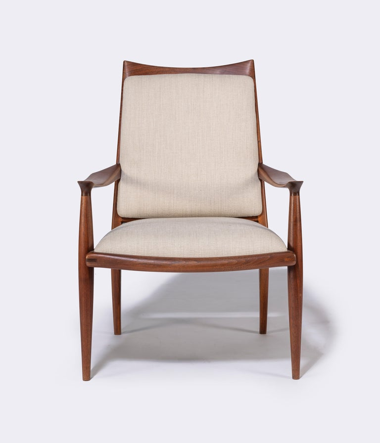 20th Century Pair of John Nyquist Walnut Armchairs For Sale