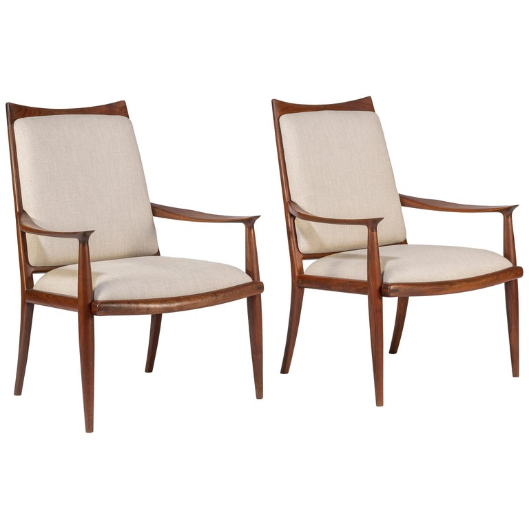 Pair of John Nyquist Walnut Armchairs For Sale