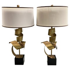 Pair of John Richard Brutalist Brass Ribbon Table Lamps with Signed Shades