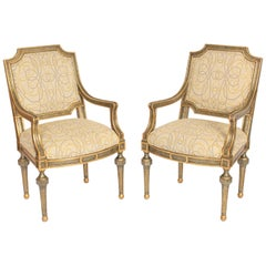 Pair of John Richards Painted and Gilt Decorated Armchairs