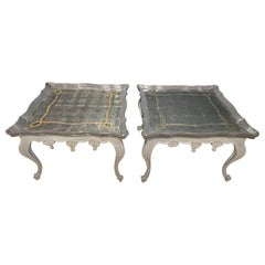 Pair of John Richards Painted Eglomise Mirrored Top Coffee Table Cocktail Table