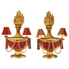 Pair of John Rosselli Parcel-Gilt and Painted Wood 2-Light Sconces