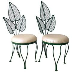 Pair of John Salterini Deep Green and Pink Palm Wrought Iron Patio/Garden Chairs