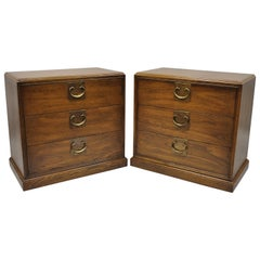 Pair of John Stuart Chinoserie James Mont Style Oak Nightstand Bedside Chests