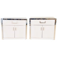 Pair of John Stuart Mid-Century Modern White and Chrome Decorated Nightstands