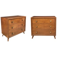 Pair of John Stuart Midcentury 3-Drawer Bachelor Chests/Bedside Cabinets