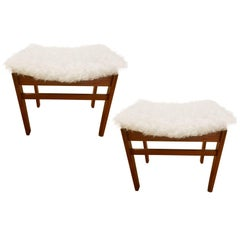 Pair of John Stuart Stools in the Style of Finn Juhl in White Alpaca