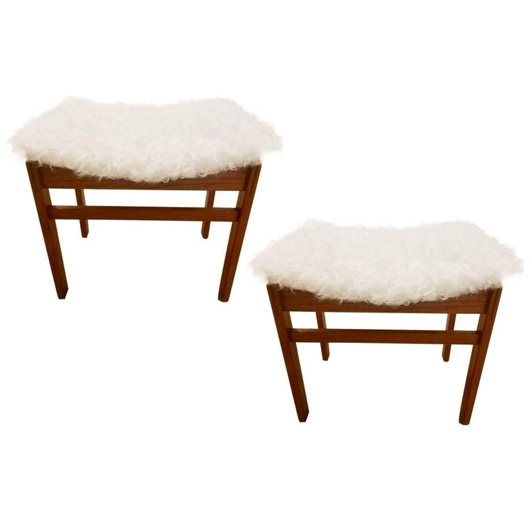Pair of John Stuart Stools in the Style of Finn Juhl in White Alpaca For Sale
