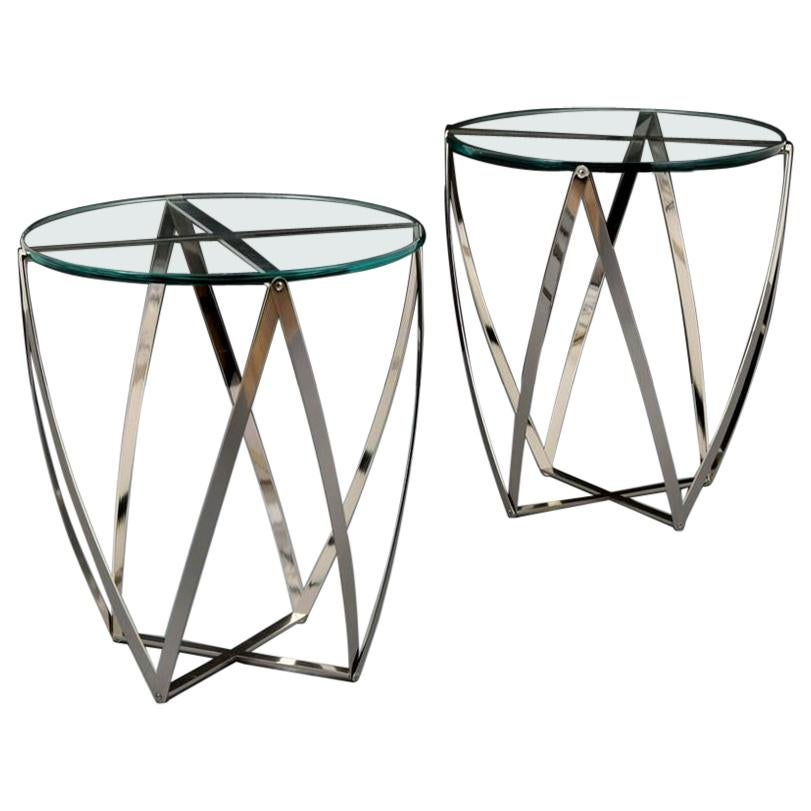Pair of John Vesey Metal and Glass Tables