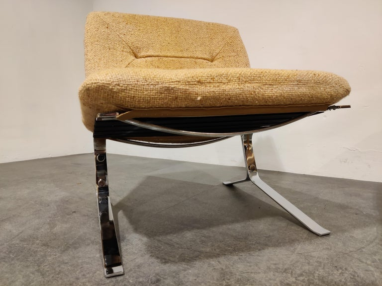 Fabric Pair of Joker Lounge Chairs by Olivier Mourgue, 1970s For Sale