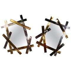 Pair of Jonathan Adler Electrum Horizontal or Vertical Brass Mirrors