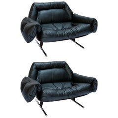 Pair of Jorge Zalszupin 1960s Brazilian Jacaranda Presidential Lounge Chairs