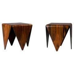 Pair of Jorge Zalszupin Rosewood Petalas Side Table 1950s