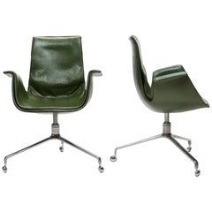 Pair of Jorgen Kastholm & Preben Fabricius Green Leather Tulip Bird Desk Chairs
