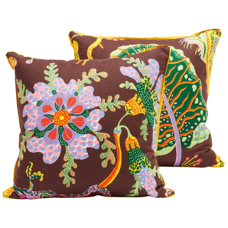 Pair of Cushions in Josef Frank Hawaii Pattern Textile For Sale