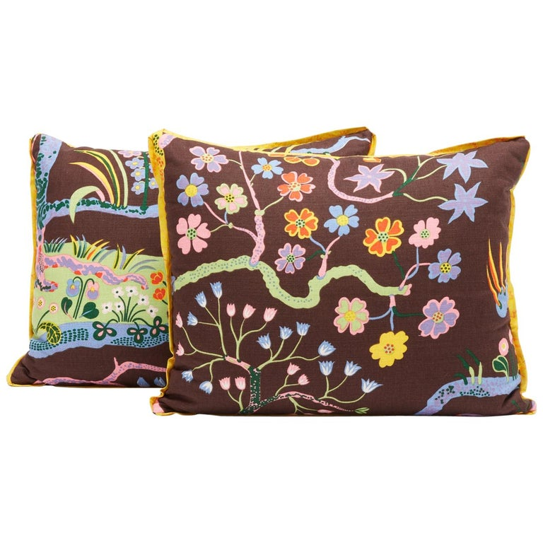 Pair of Josef Frank Rectangular Cushions in the Hawaii Pattern For Sale