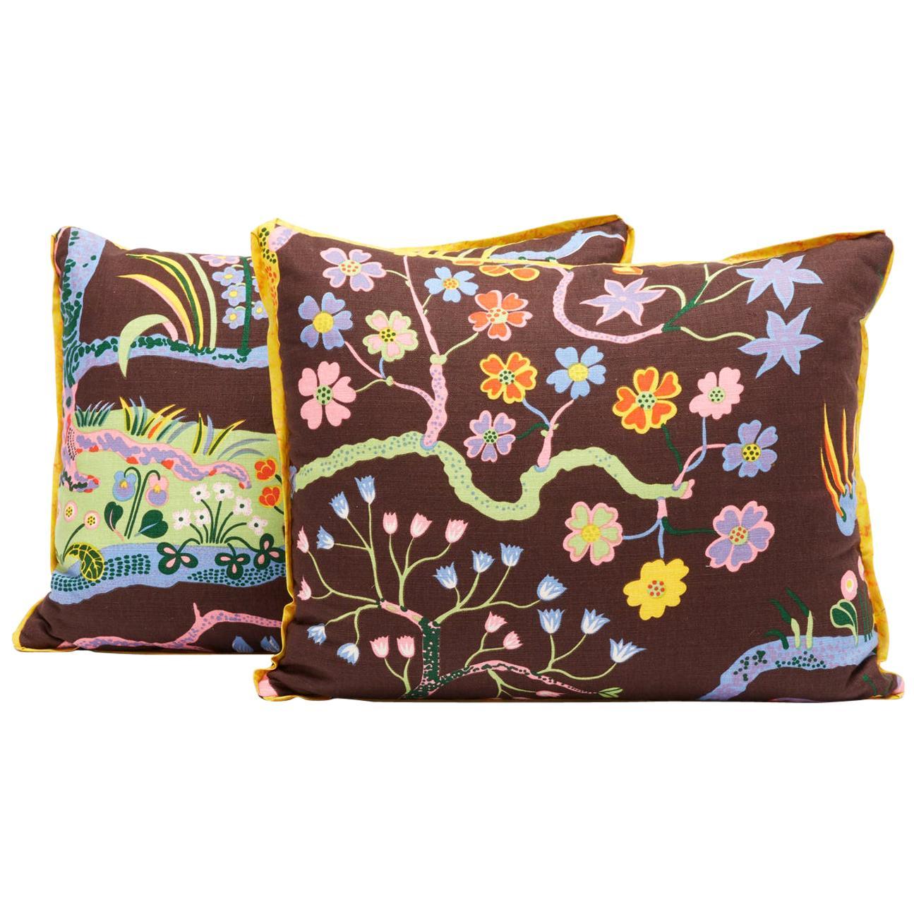 Pair of Josef Frank Rectangular Cushions in the Hawaii Pattern