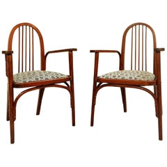 Pair of Josef Hoffmann for Thonet Armchairs, New Upholstery by Backhausen Fabri