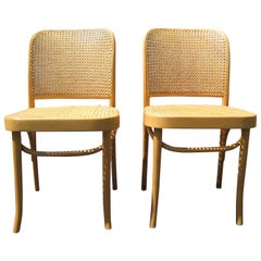 Pair of Josef Hoffmann Poland Cane Bentwood Side Chairs