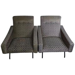 Pair of Joseph Andre Motte armchairs, Steiner Edition, France, 1955