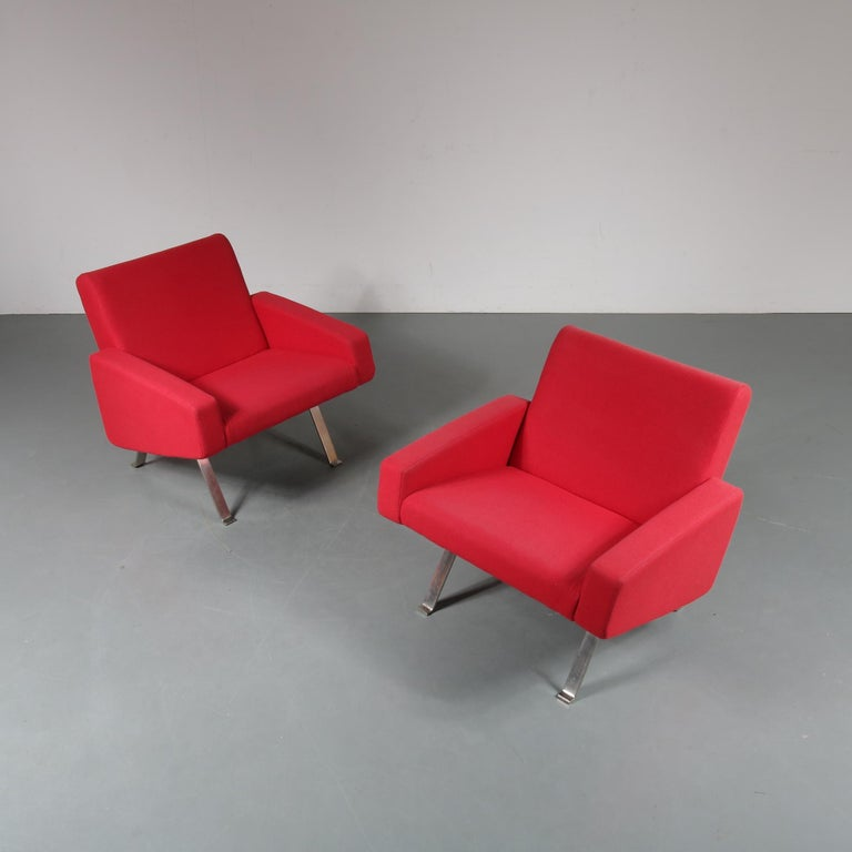 A beautiful, rare pair of easy chairs designed by Joseph-Andre´ Motte, manufactured by Artifort in the Netherlands, circa 1965.  These lovely chairs are upholstered in high quality Kvadrat fabric. The fabric as well as the foam has been renewed in