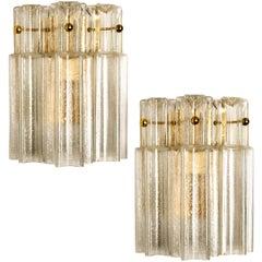Pair of J.T Kalmar Clear Glass and Brass Wall Lights, Austria, 1960
