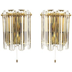 Pair of J.T. Kalmar Glass Sconces Brass Frame, Austria, 1970s
