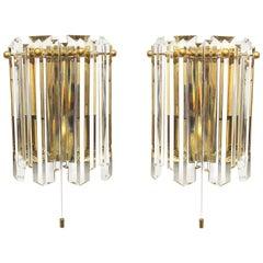 Paar J.T. Kalmar Glas-Wandleuchter Messing-Rahmen, Österreich, 1970er Jahre