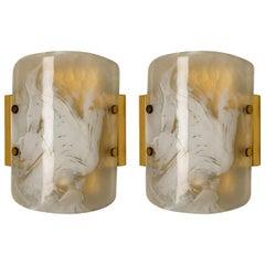 Pair of J.T. Kalmar Murano Glass Brass Sconces, Austria, 1960