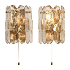 Pair of J.T. Kalmar 'Palazzo' Wall Light Fixtures Gilt Brass and Glass, 1970